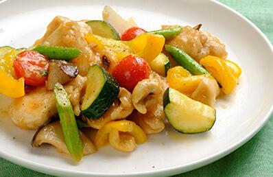 鶏むね肉と野菜の梅酢炒めのレシピ